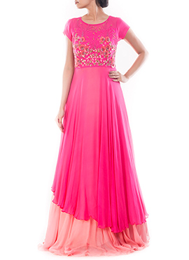 Fuchsia Pink Double Layered Anarkali Gown