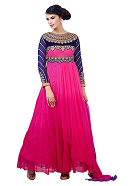 Fuchsia Pink Embroidered Anarkali Suit