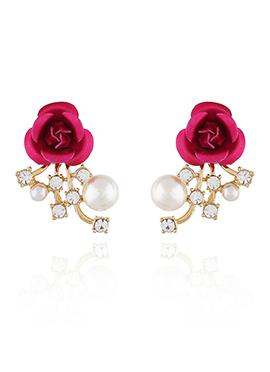 Fuchsia Pink Floral Shape Stud Earring