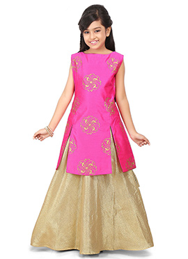 Fuchsia Pink N Golden Kids Art Dupion Silk Skirt Set