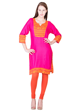 Fuchsia Pink N Orange Blended Cotton Kurti