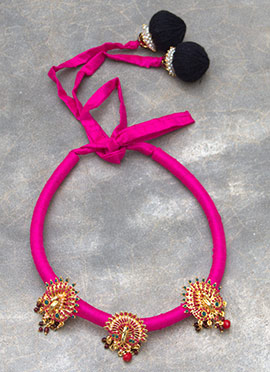Fuchsia Pink Polki N Pearls Studded Necklace