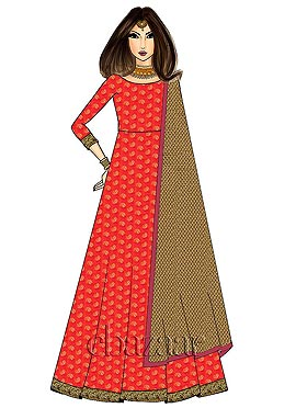 Full Length Pinkish Orange Soft Silk Anarkali