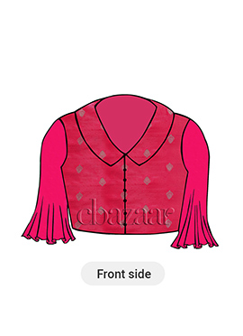 Fuschia Collared Blouse With Flared Sleeves