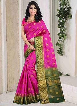 Fuschia Pink Art Silk Saree