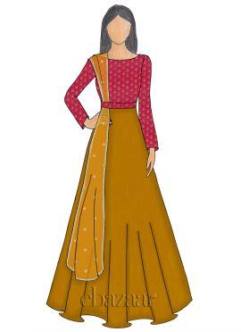 Fuschia Pink Brocade Abaya Style Anarkali