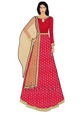 Fuschia Pink Close Collar Brocade Abaya Suit