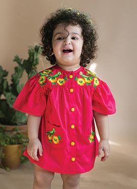 Fuschia Pink Cotton Girls Dress