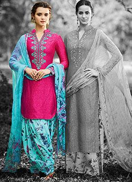 Fuschia Pink Cotton Patiala Suit