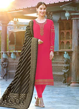 Fuschia Pink Embroidered Churidar Suit