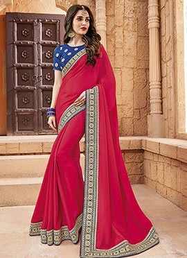 Fuschia Pink Georgette Border Saree