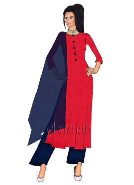 Fuschia Pink Georgette Wide Leg Palazzo Suit