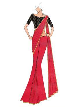 Fuschia Pink Georgette saree with Black Art Dupion Silk Blouse