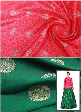 Fuschia Pink N Bottle Green Art Silk Skirt Set