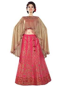 Fuschia Pink N Crimson Red A Line Lehenga Choli