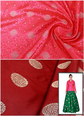 Fuschia Pink N Maroon Art Silk Skirt Set