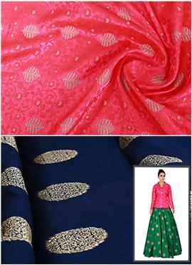Fuschia Pink N Navy Blue Art Silk Skirt Set