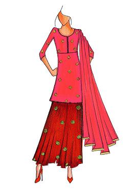 Fuschia Pink N Red Art Silk Kurta N Flare Palazzo