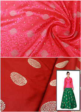 Fuschia Pink N Red Art Silk Skirt Set