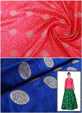 Fuschia Pink N Royal Blue Art Silk Skirt Set