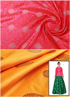 Fuschia Pink N Yellow Art Silk Skirt Set
