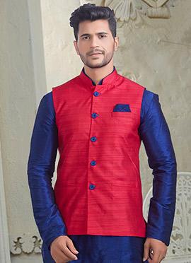 Fuschia Pink Plain Nehru Jacket