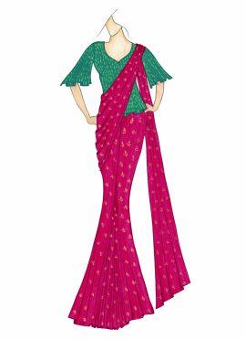 Fuschia Pink Saree with an Aqua Green Blouse