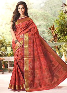 Gadwal Silk Orange Printed Foliage Designed Saree