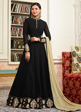 Gauhar Khan Black Abaya Style Anarkali Suit