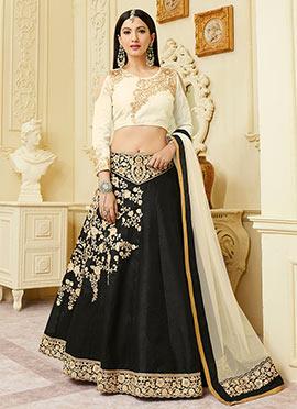 Gauhar Khan Black Art Silk Lehenga