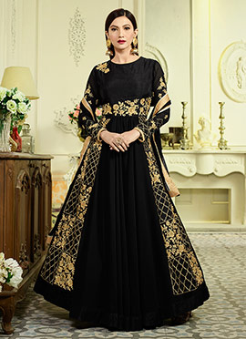 Gauhar Khan Black Georgette Anarkali Suit