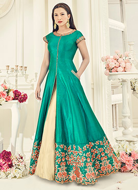 Gauhar Khan Blue Art Silk Anarkali Lehenga