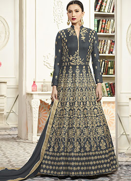 Gauhar Khan Dark Grey Abaya Style Anarkali Suit