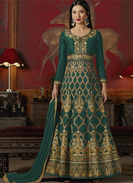 Gauhar Khan Green Abaya Style Anarkali Suit