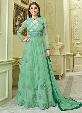 Gauhar Khan Green Art Silk Long Choli Lehenga