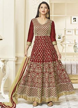 Gauhar Khan Maroon Abaya Style Anarkali Suit