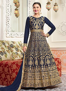 Gauhar Khan Navy Blue Abaya Style Anarkali Suit