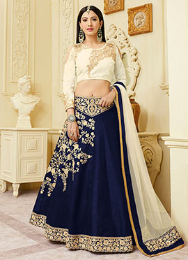 Gauhar Khan Navy Blue Art Silk Lehenga