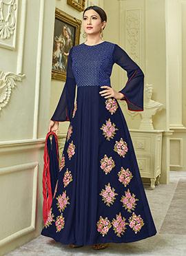 Gauhar Khan Navy Blue Georgette Anarkali Suit