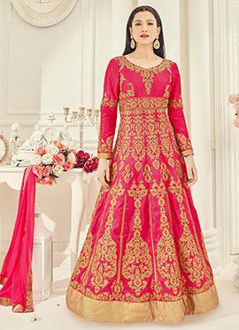 Gauhar khan Pink Art Silk Anarkali Suit