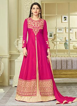 Gauhar Khan Pink Art Silk Long Choli Lehenga