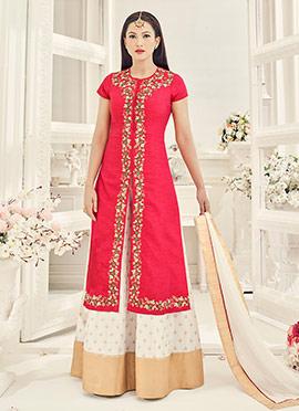 Gauhar Khan Pink Art Silk Umbrella Lehenga