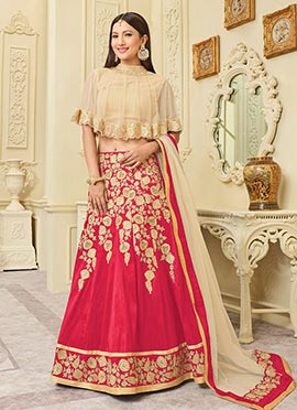 Gauhar Khan Pink Capes Style Lehenga