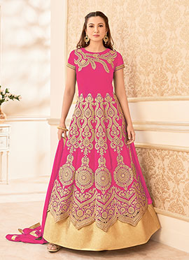 Gauhar Khan Pink Georgette Anarkali Suit