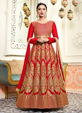 Gauhar Khan Red Abaya Style Anarkali Suit