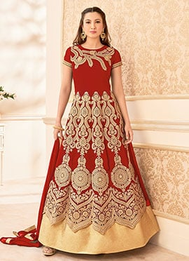 Gauhar Khan Red Georgette Anarkali Suit
