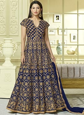 Gauhar Khan Royal Blue Abaya Style Anarkali Suit