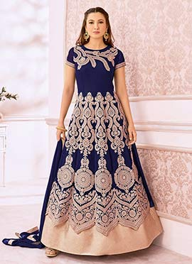 Gauhar Khan Royal Blue Georgette Anarkali Suit