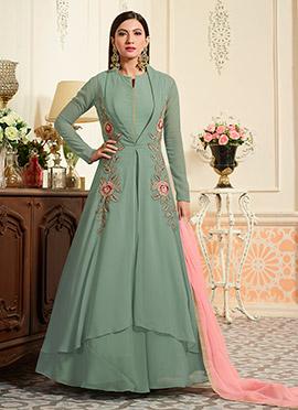 Gauhar Khan Sage Green Abaya Style Anarkali Suit