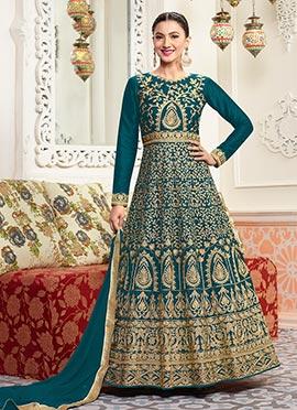 Gauhar Khan Teal Blue Abaya Style Anarkali Suit